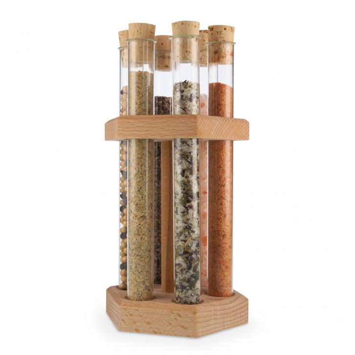 Holzständer 6-er für Reagenzgläser