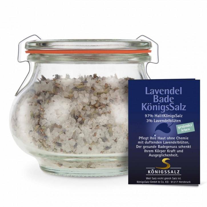 Badesalz m. Lavendelblüten im Schmuckglas 180g